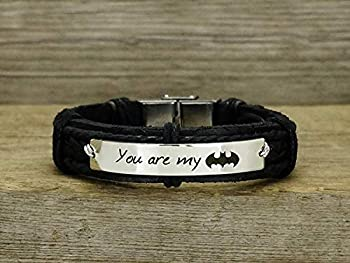 You are My Batman Bracelet Fathers Day Gift Superhero Jewelry Custom Mens Leather Band Brass Black Leather Cuff