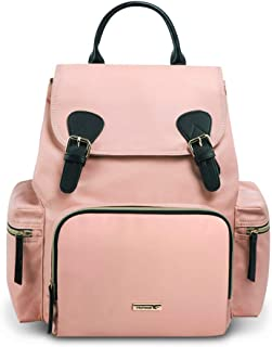 Hafmall Nappy Changing Backpack, Stylish Waterproof Multi-Functional Diaper Bag for Baby Care (Pink)