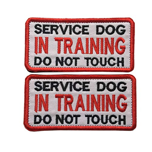 Service Dog in Training Do Not Touch, Working Dog Patches Emblem Embroidered Fastener Hook & Loop Tactical Patches Appliques for Harnesses Vests (B-Bundle 2 pcs in Training)