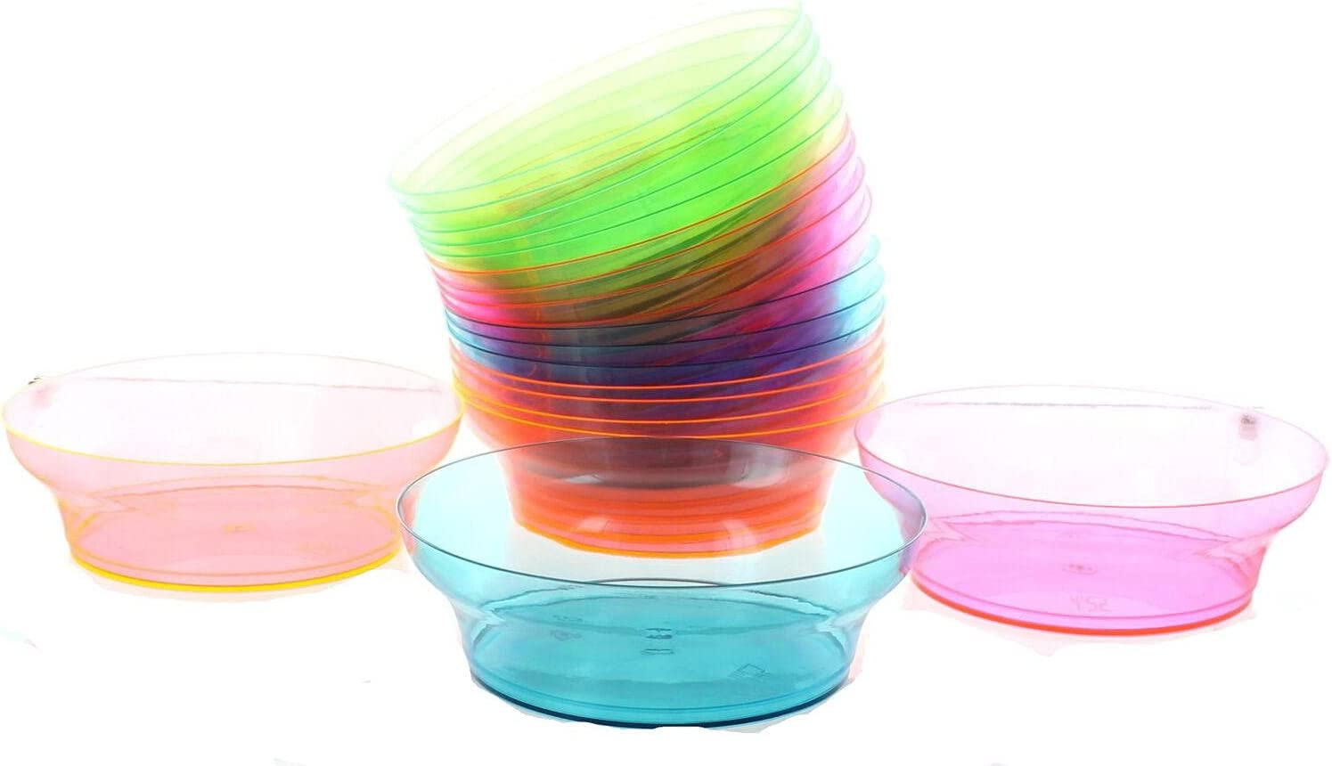20ct 10oz Neon Bowls Bright Plastic Candy Snack Challenge the lowest Cheap mail order sales price Color Disposable