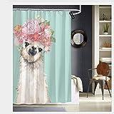 Nonebrand Llama con flores Corona, cortina de ducha antimoho, tela de poliéster, lavable a máquina, 60 x 72 pulgadas
