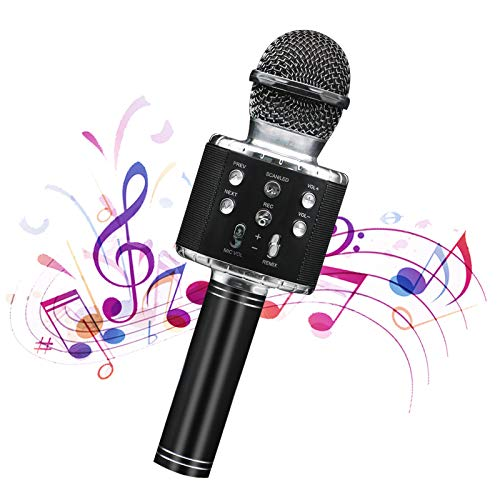 Wireless Bluetooth Karaoke Microphone CarpoolPortableKTVMicrophoneBluetooth for PC or All Smart Phones 5 in 1 with Controllable LED Light Adjustable Mixing and Suitable for Adults