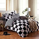 NOKOLULU Buffalo Check Black and White Plaid Duvet Cover Set with Zipper Closure Gingham Preppy Grid Pattern Checkered Printed Bedding Set, Luxury Soft Breathable Comfortable (Twin,Black and White)