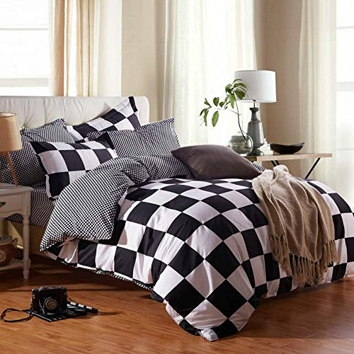 NOKOLULU Buffalo Check Black and White Plaid Duvet Cover Set with Zipper Closure Gingham Preppy Grid Pattern Checkered Printed Bedding Set, Luxury Soft Breathable Comfortable (King,Black and White)
