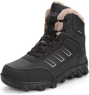 PAMRAY Bottes Homme Chaussures d'hiver Neige Bottines Chaudes Fur Imperméable Boots Tactique Militaire Sécurité Noir Marro...