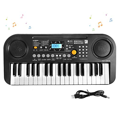 M SANMERSEN Kids Piano, Keyboard for Kids Music Pianos Keyboards with Dual-Speakers LCD Screen Electronic Keyboard Piano Educational Musical Toys for 3-12 Years Old Boys Girls