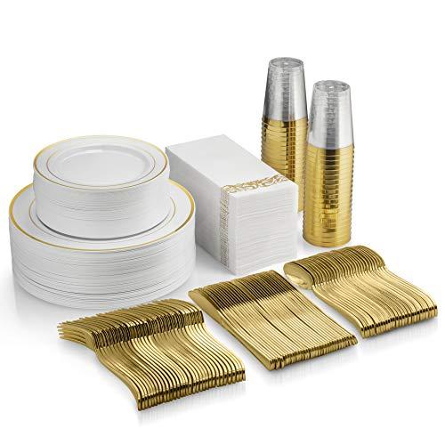 350 Piece Gold Dinnerware Set - 50 Guest Gold Rim Plastic Plates - 50 Gold Plastic Silverware - 50 Gold Rim Plastic Cups - 50 Linen Like Gold Paper Napkins, 50 Guest Disposable Gold Dinnerware Set