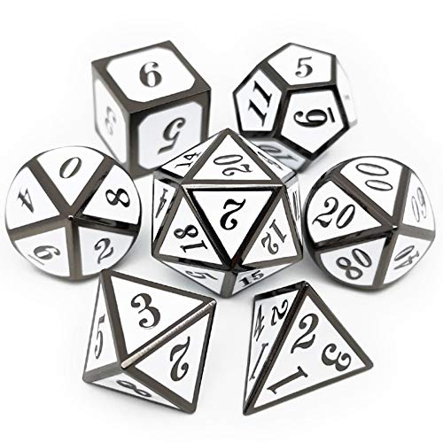 Haxtec 7 Die DND Metal Dice Set D&D 7PCS DND Dice of D20 D12 D10 D8 D6 D4 for Dungeons and Dragons RPG Games-Glossy Enamel Dice (Black White)
