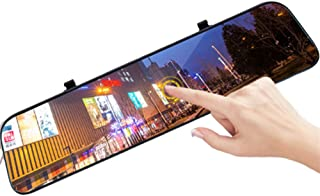 Backup Camera 12 2K Upgrade Mirror Dash Cam, 170° 1080P Front and Rear View Camera, Front and Rear Full Touch Screen Video Streaming, Waterproof Mirror Dash Cam with Night Vision & Parking Monitor