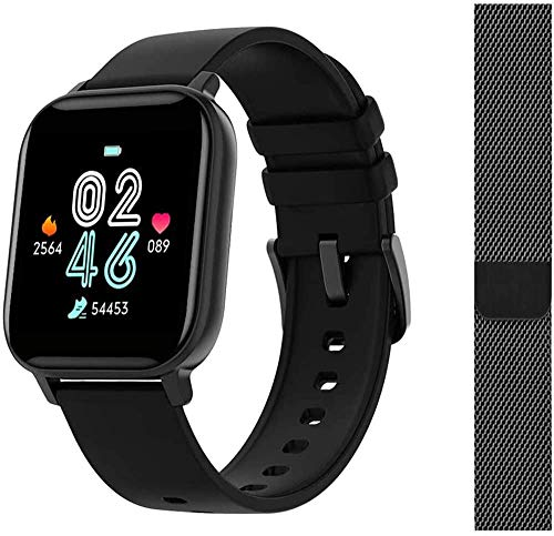 AMATAGE Smart Watch for Women, Fitness Tracker with Heart Rate Monitor Activity Tracker with Music Control, Fitness Watch Step Counter Watches (Black/Extra-Band)