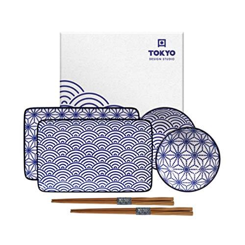 Tokyo Design Studio SUHSI TELLER SET | Sushi Geschirr Set | 8-teilig | Für 2 Personen (Star/Wave)