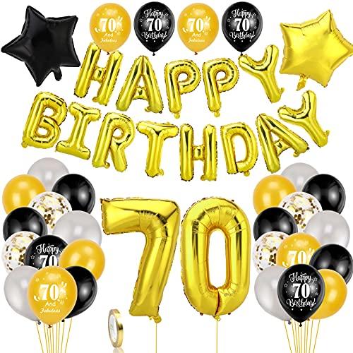 HOWAF Negro y Oro Decoración de Cumpleaños 70 para Hombre Mujer, 42pcs Feliz Cumpleaños Decoración Globos Pancartas 70 Años Globos de Confeti y Estrella Globos de Aluminio para 70 Años