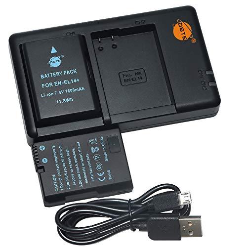 DSTE 2PCS EN-EL14(1600mAh/7.4V) Batería Cargador Compatible para Nikon Coolpix P7000, Coolpix P7100, Coolpix P7700, DF, D3400, D3500, D5100, D5200, D5300 Digital Cámara,Nikon Batería Apretón BG-2G