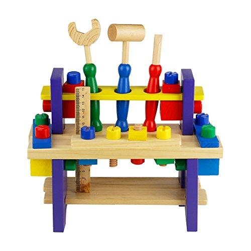 Nuheby Werkzeug Werkbank Kinder Werkzeugkasten Holz Multifunktionale Rollenspiel Spielwerkbank Pädagogisches Spielzeug ab 3 4 5 6 Jahren Junge Mädchen (42 Stück