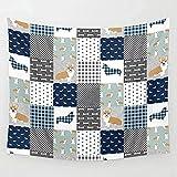 DINGQINGCorgi Dog Print Patchwork Navy Buffalo Plaid Männer Hund Tapisserie Tagesdecke Bettwäsche Wandkunst Decke Vorhang Decke Tagesdecke Beste
