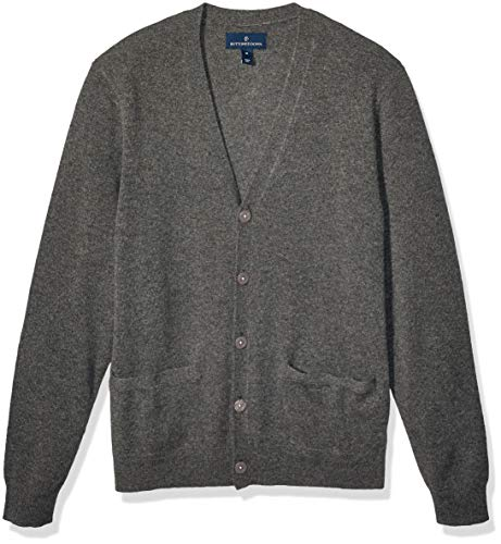 Amazon Brand - Buttoned Down Men's Cashmere Cardigan Sweater, Dark Grey, Large
