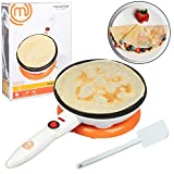 MasterChef Cordless Crepe Maker with FREE Recipe Guide- Non-stick Dipping Plate plus Electric Base...