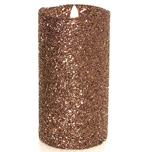Luminara Vintage Chocolate Glitter 7' Flameless Pillar Candles w/Remote