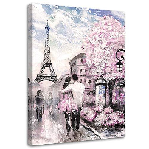 F FEEBY WALL DECOR Cuadro en Lienzo Paris Calidad fotografica Eiffel Torre Rosa 40x60 cm