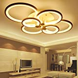 CITRA 6 Light Round White Body Modern LED Chandelier Ring for Dining Living Room Office Hanging Suspension Lamp (M1951) - Warm White