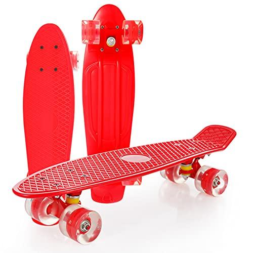 Monopatín Completo Mini Cruiser para niños, Adolescentes, Adultos, Ruedas con luz LED con Herramienta en T de Skate Todo en uno para Principiantes,Rojo