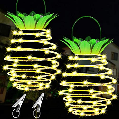 Bigger 60LEDs Pineapple Solar Lights Outdoor Hanging Lantern for Pool Decorations,Backyard Decor,Light up Palm Tree Tropical Christmas Tiki Decorations,Pack of 2