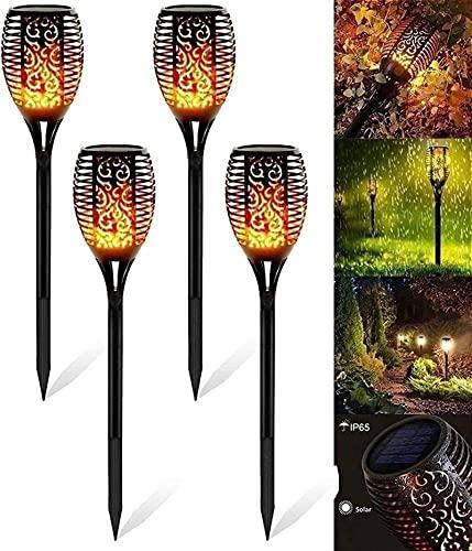 SKYWPOJU Antorcha solar Luces de jardín Encendido/apagado automático IP65 Lámpara solar impermeable 4 piezas Lámparas solares con llamas realistas para exteriores para patios traseros Jardines Ilumina