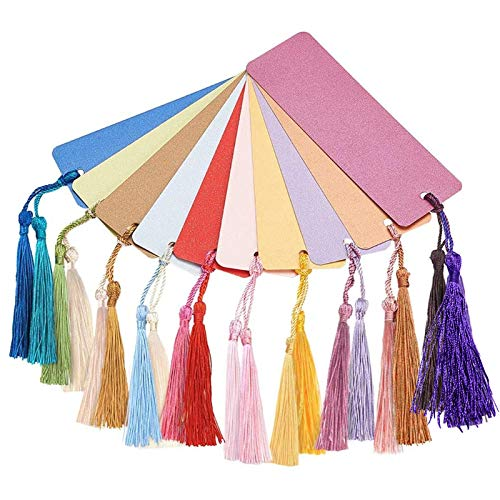 PandaHall 40pcs 10 Colors Kraft Paper Bookmarks Blank Cards with 80pcs 20 Colors Tassels for DIY Book Markers Gift Tag Crafts Making Decoration