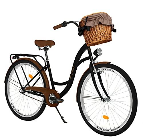 Milord Bikes Bicicletta Comfort Nero - Marrone a 3 velocità da 28 Pollici con cestello e Marsupio Posteriore, Bici Olandese, Bici da Donna, City Bike, retrò, Vintage