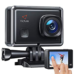 Victure AC900 4K 30fps Action Camera Touch Screen 30M Underwater Recording Camera 20MP Image Stabilization Sports Cam with 2 1350mAh Rechargeable Batteries and Helmet Accessories Kit Included by Victure