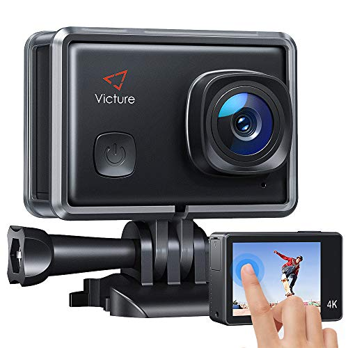 Victure AC900 4K 30fps Action Camera Touch Screen 30M Underwater Recording Camera 20MP Image Stabilization Sports Cam with 2 1350mAh Rechargeable Batteries and Helmet Accessories Kit Included