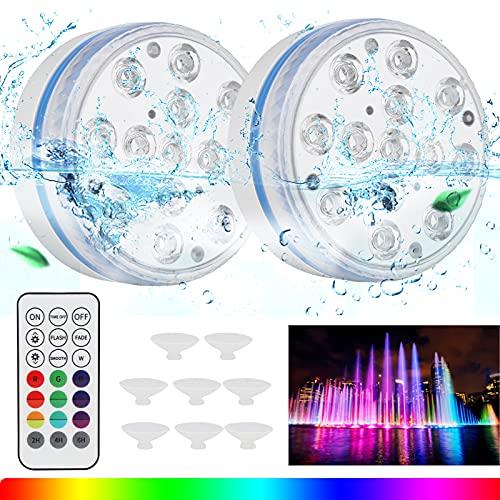 [2 Stück]Unterwasser Licht, IP68 Wasserdichtes LED Licht, Pool beleuchtungenlicht mit RF-Fernbedienung & Timer, 13LEDs 16 Farbwechse Unterwasser Licht für Swimmingpool, Teich, Festival Dekolichter