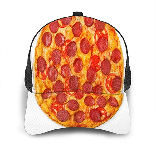 SLHFPX Delicious Pizza with Tomatoes Pepperoni Trucker Cap Hats Uv Sun Snapback Mesh Hat for Women Men Youth Teen