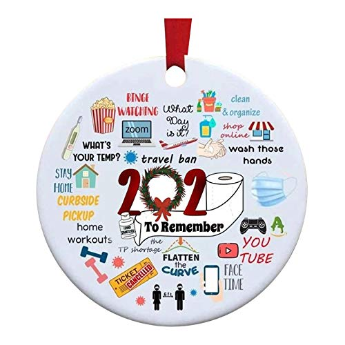 AOJIAN Christmas Ornaments 2020 Personalized Covid 19 Quarantine Survived Family of Holiday Decor Christmas Decorations (5PC, E)