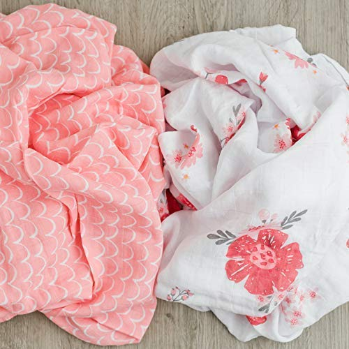 GRACED SOFT LUXURIES Muslin Swaddle Baby Blankets 2Pack Softest Bamboo Baby Blanket Summer Daisies