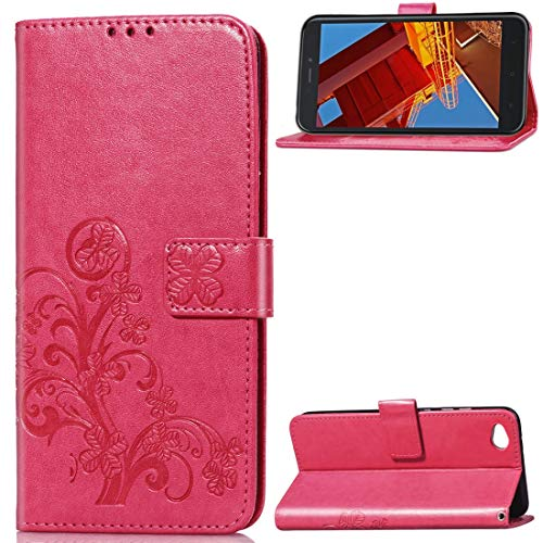 Weeksu Nueva Funda de Cuero Lucky Clover Pressed Flowers Pattern for Xiaomi Redmi Go, con Ranuras for Tarjeta y Titular, Billetera y Correa for la Mano (Negro) (Color : Rose Red)