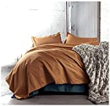 Solid Color Egyptian Cotton Duvet Cover Luxury Bedding Set High Thread Count Long Staple Sateen Weave Silky Soft Breathable Pima Quality Bed Linen (Queen, Copper)