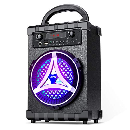 JYX Karaoke Machine for Kids and Adults Portable Bluetooth Speaker with Wireless Microphone. Rechargeable PA System with Radio Station, Audio...