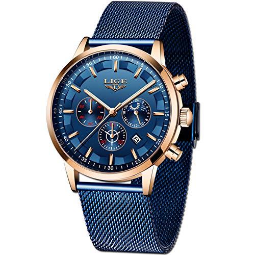 LIGE Relojes Hombre Moda Impermeable Acero Inoxidable Analógico Cuarzo Relojes Negocio Azul Automática Fecha Relojes