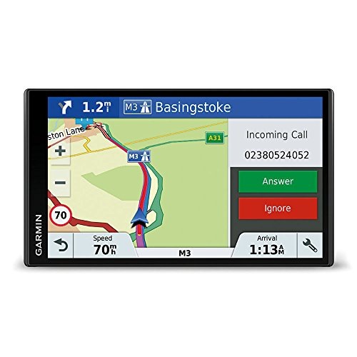 Garmin DriveSmart 61 - GPS Auto - 6,9 pouces - Cartes 24 pays - Cartes et Trafic gratuits à vie - Grand écran lumineux sans bord - Appels Mains Libres (Version UK)