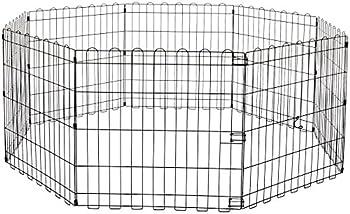 Amazon Basics Foldable Metal Pet Dog Exercise Fence Pen - 60 x 60 x 24 Inches Black