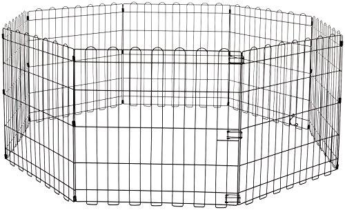 Amazon Basics - Parque de juegos y ejercicios para mascotas, paneles de valla metálica, plegable, 152,4 x 152,4 x 60,9 cm