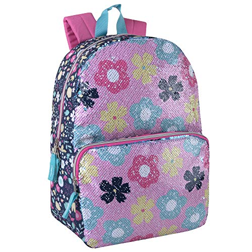 Madison & Dakota Color-Changing Sequin Glitter Backpack for Girls and Women (Flowers)