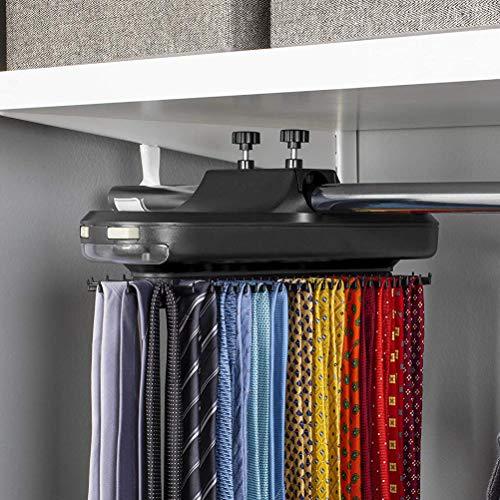 TAIPPAN Motorisierte Krawattenhalterung, batteriebetriebener elektrischer drehbarer Krawattenhalter mit LED-Licht, rotierender Krawattenhalterung, Aufbewahrungsbehälter für Herrenaccessoires