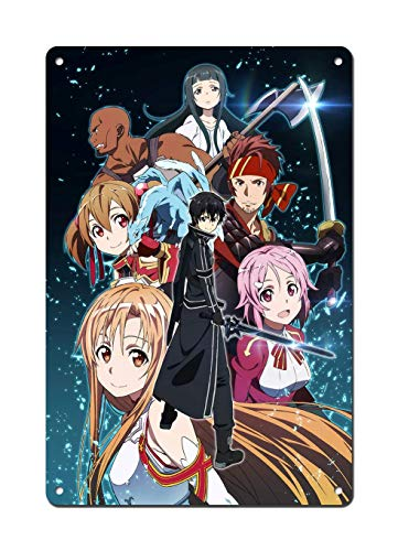 Dreamawsl Tin Sign Wall - Sword Art Online Poster SAO Poster Kirito and Asuna Poster - Japan Anime Poster Anime TV Show Poster 11.8 x 7.8 in (30cmx20cm)