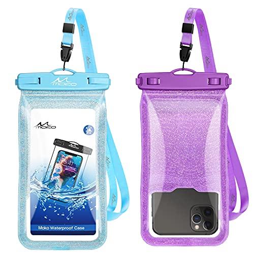 MoKo Funda Impermeable Universal, [2PZS] IPX8 Bolsa Estanca Móvil Brillante, Protectora Seca Compatible con i-Phone 12 Mini/12 ProMax 11 ProMax/X/Xs Max/8/7/6/6s Plus, Galaxy S20/S21,Morado+Azul Claro