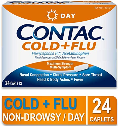 CONTAC Cold + Flu Max Strength Multi-Symptom Relief Daytime Caplets, 24 Count