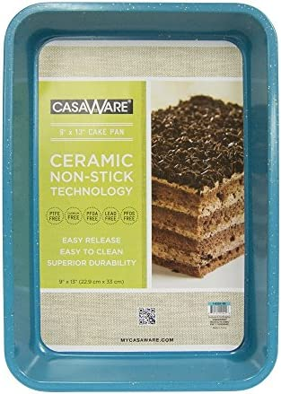 casaWare Ceramic Coated NonStick 9 X 13 x 2 Inch Rectangular Cake Pan Blue Granite product image