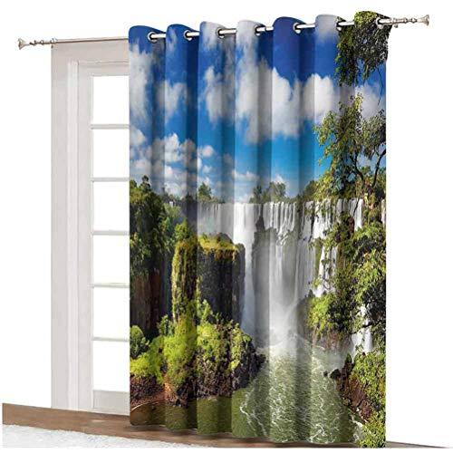 Americana - Cortina de puerta corredera con diseño de cascada y cataratas argentinas, diseño de paisaje, cortinas estampadas, panel individual de 254 x 274 cm, para puerta de cristal multi