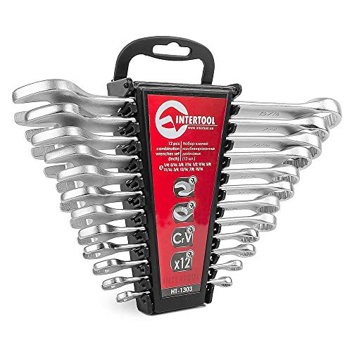 INTERTOOL Set of Standard Combination Wrenches Inch in a Holder 12 pcs SAE 1/4quot 15/16quot HT1303